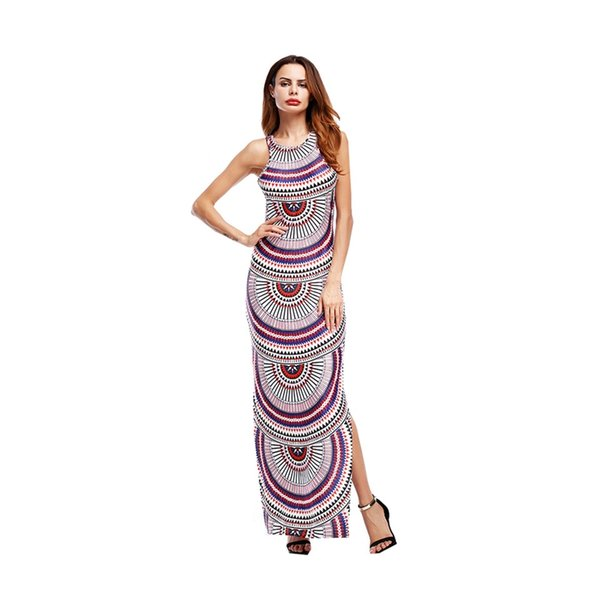 Evening Dress 2018 Fashion Striped Open-cut Printed Bandage Party Maxi Dress Sexy Split Fork Comfort Section Evening Gown Geometric pattern