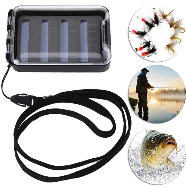 Plastic Fly Fishing Box Waterproof Slit Foam Portable Fishing Tackle Storage Case for Lure Bait Pesca Accessories 104*72*22mm