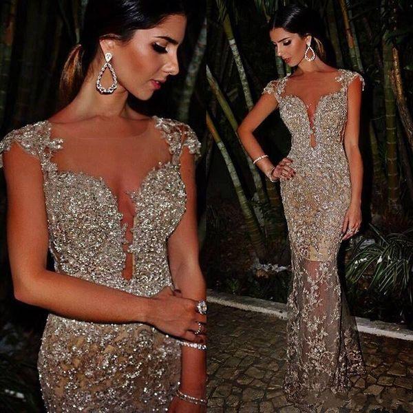 Blingbling árabe lantejoulas vestidos de baile sheer tripulação pescoço sereia cap mangas ver através sexy celebridade vestidos de noite hy4137