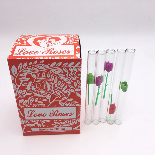 Love Rose Glass Tube With Plastic Flower 36pcs in one box best quality water pipe for smoking tobacco pipe