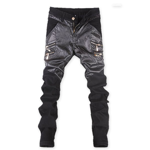 Mens Skinny Faux PU Leather and Jeans Patchwork Pants Shiny Black Pants Trousers Nightclub Stage Costumes for Singers Dancer
