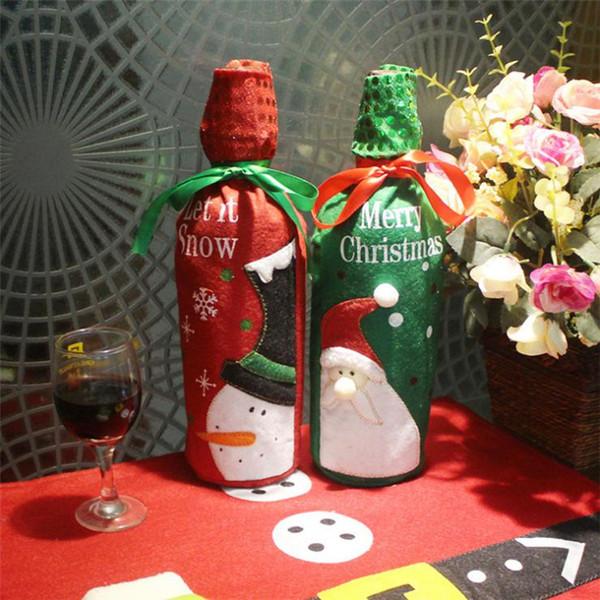 Vin De Noël Ensemble Bouteille Couverture Sacs Décoration Home Party Chiffon + tissu À Paillettes Santa De Noël Noël Navidad Décoration