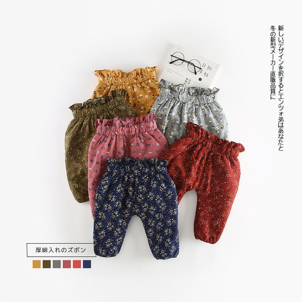 2018 Autumn Winter Baby Warm Pants Fleece Baby Girl Pants Causal Flower Pattern Infant High Waist Thickend Pant Trousers 0-24M Y18102307