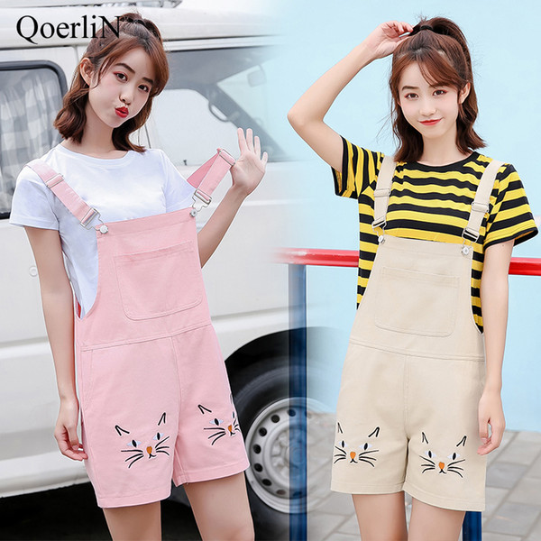 QoerliN Cute Embroidery Floral Jumpsuits Women 2018 Adjustable Strap Pocket Overalls Girls Plus Size Pink Apricot Jumper Female
