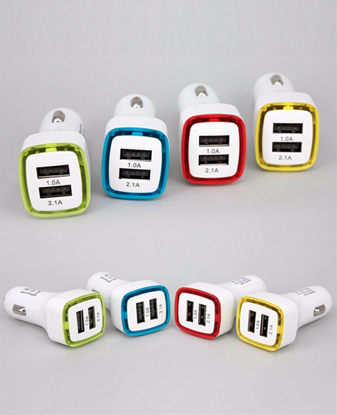 Square rocket car charger two USB quick charge vehicle-mounted mobile charger LED lights for iphone X 8 7 6s 6htc samsung 100pcs/lot