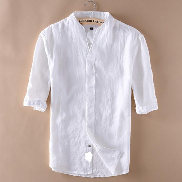 Mens Shirts Kurzarm Baumwolle Leinen V-ausschnitt Kragen Freizeithemd Mode Hemden Männliche Dünne Baumwollhemd Männer Tops TS-296