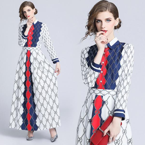 2018 Automne Piste Vintage Imprimé Long Classique De Mode À Manches Longues Roun De Luxe Robes Nouvelle Arrivée En Gros Femmes Dames Casual