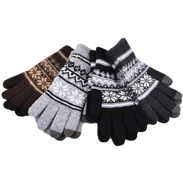 300PAIRS / LOT Unisex Knitted Gloves Winter Warm Five Finger Guantes geometry Pattern Men Women Casual Mittens Gloves