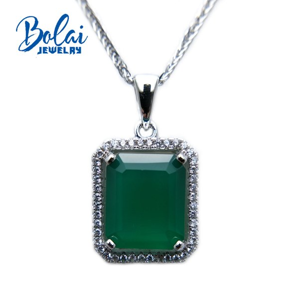 Bolaijewelry, natural green agate oct 10*12mm gemstone pendant fine jewelry for women as birthday anniversary party best gift.