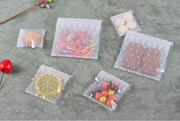 10x10cm white lace Gifts Bags Christmas Cookie Packaging Self-adhesive Plastic Bags For Biscuits Candy Food Cake Package