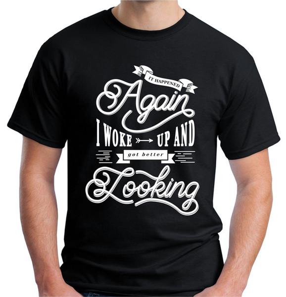 Velocitee Mens Acordou Melhor Olhando Camiseta Slogan Hipster Bonito V64