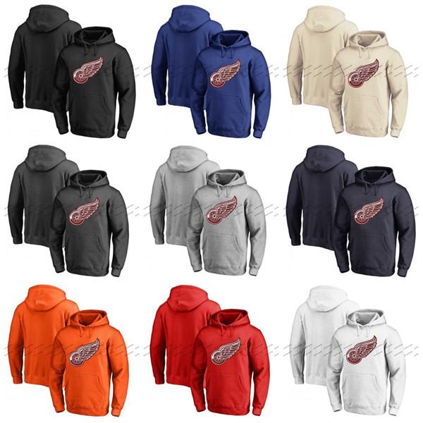Özel Detroit Kırmızı Kanatları Hoodie Formalar Kazak Hoodie Herhangi İsim Numarası Boş Dikişli Hokey Kapşonlu Sweatshirt