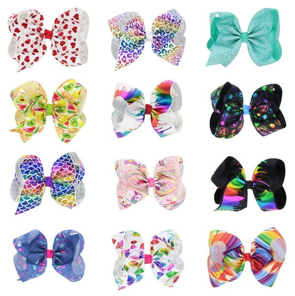 Kids Girls Big Solid Ribbon Hair JOJO Bow Clips With Large Hairpins Boutique Hairclips 8 Inch Hair Accessories LE149