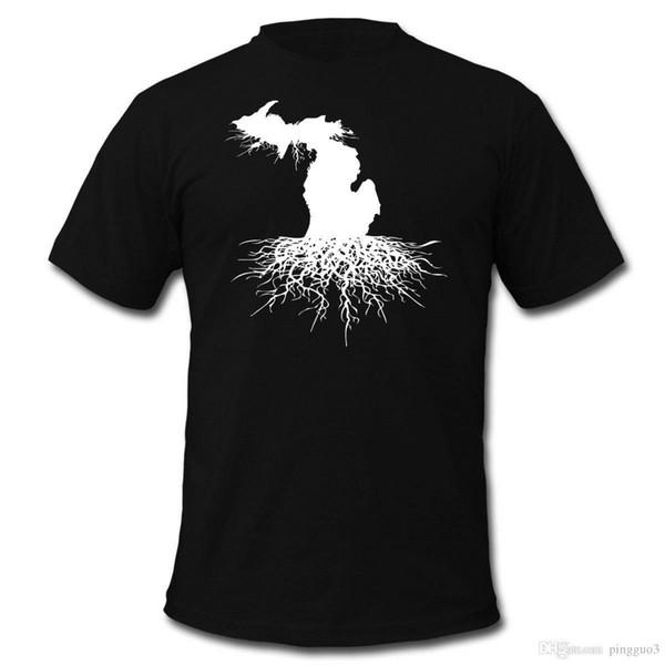 Camiseta para hombre de Michigan Roots Camiseta manga corta Mangas divertidas Algodón Moda 100% Algodón Friki Top de la familia
