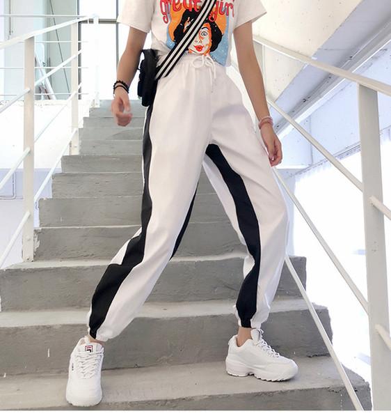 Free Shipping New Super Fire Female Sports Nine Pants Xia Fufu Pants Casual Trousers Women's Pants & Capris Letter Printed Sweatpants v8920