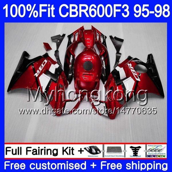 Inyección para HONDA CBR 600F3 CBR600RR CBR600F3 1995 1996 1997 1998 2MY66 Rojo oscuro CBR600 F3 FS CBR600FS CBR 600 F3 95 96 97 98 Carenado