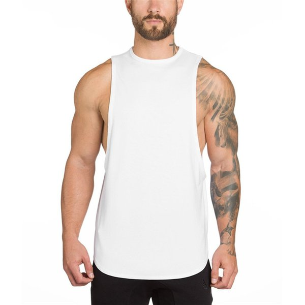 19877abacc2 Mens Summer Gyms Clothing Fitness Bodybuilding Tank Top Stringer Singlet  Crossfit Solid Color Vest Sleeveless Shirts