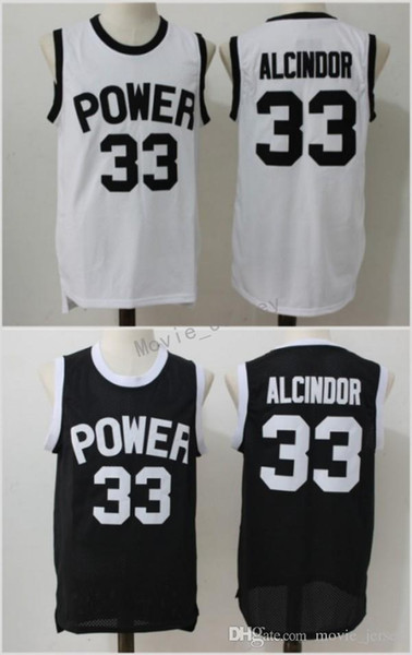 St Joseph High School CT Power Kareem Abdul-Jabbar 33 Lewis Alcindor Jr Basketball Jersey White Black Stitched Shirts S-XXL