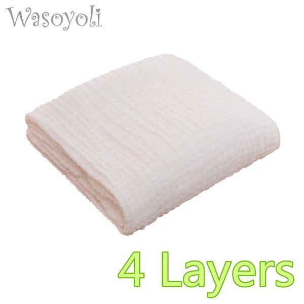1 Piece Wasoyoli Baby White Swaddles 110*110cm 100% Seersucker Muslin Cotton 4 Layers Newborn Baby Quilt Blankets Soft Bath Hold Wraps