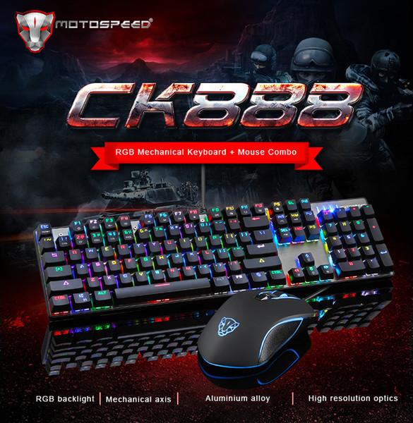 Clavier mécanique de souris de Motospeed CK888 NKRO RGB + Mouse avec le contre-jour de LED pour le gamer