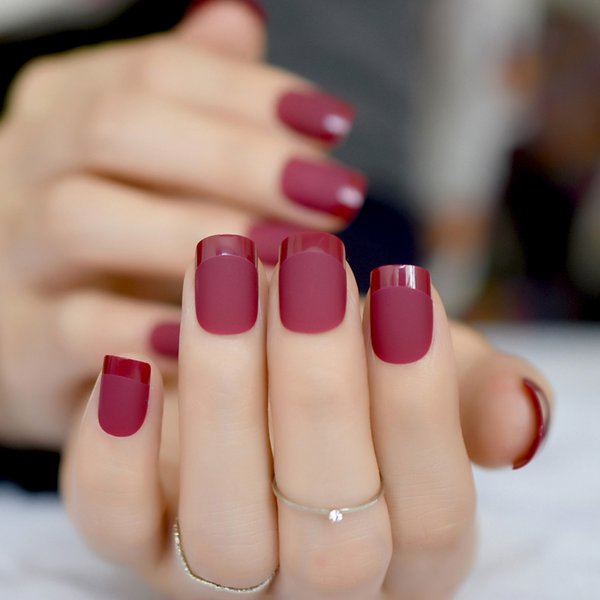 Dusting Red Matte French Coloured Glaze Nail Tips Shiny French Tip Medium Frosted Korea fake nails with glue sticker