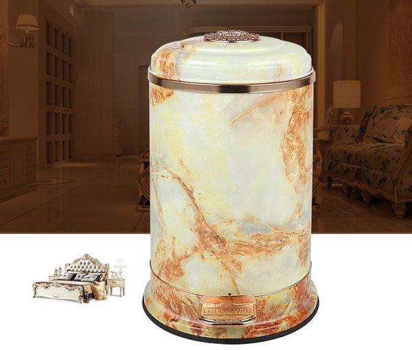 Luxury European 10L Stainless steel metal trash bins kitchen trash garbage bucket rubbish bag for home decor