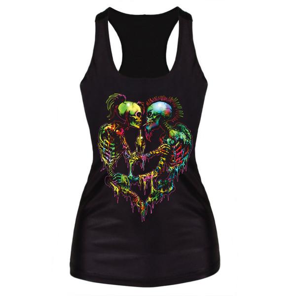 Abbigliamento T-shirt donna 2016 Canottiera nera Top Stampa 3D Costole multicolor Skull Bone Poliestere Horror Sexy Canotta