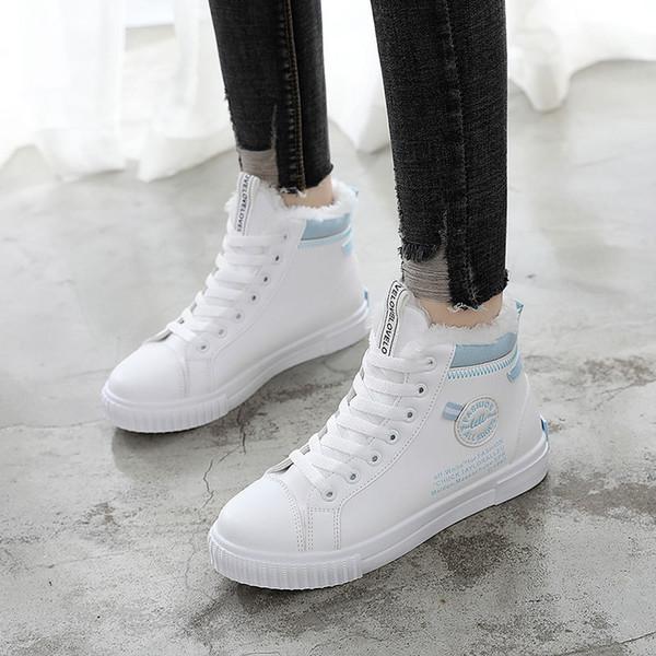 d6c57ef90 2018 Moda Coreano Mulheres Sapatos de Inverno de Pele Quentes de Alta Top  Sapatilhas Das Mulheres