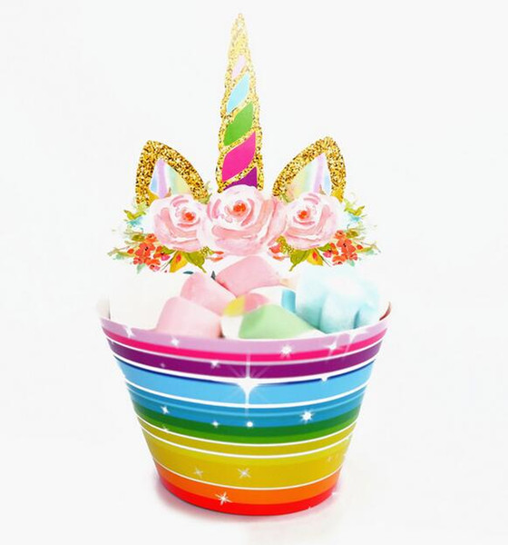Hot 1200pcs Cute Rainbow Unicorn Cupcake Cake Wrappers Toppers Baby Shower Kids Children Birthday Party Decorative Supplies
