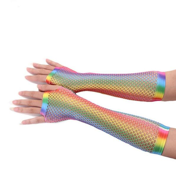 Rainbow Fishnet Fingerless Gants Sexy Coloré Brillant Sirène Longue Demi-Doigt Gants De Mariée / Partie / Nightclub