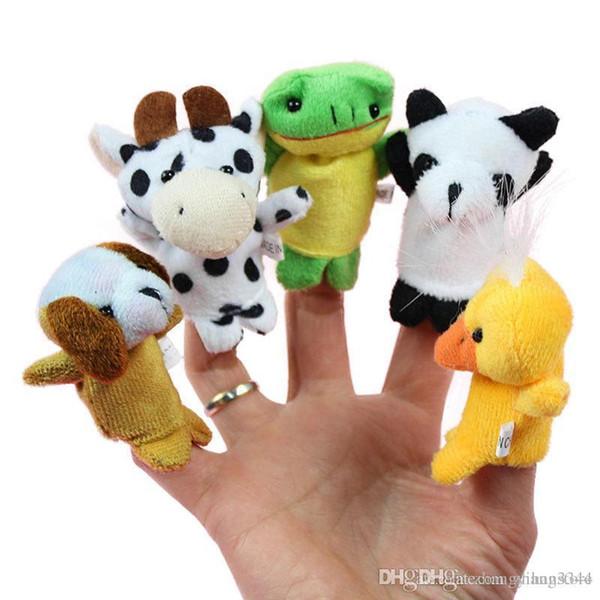Toptan-10 adet / paket Aile Parmak Kuklaları Bez Bebek Bebek Eğitim El Karikatür Hayvan Oyuncak Ücretsiz kargo Y1