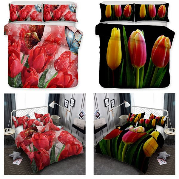 Edredon Nordico Rojo.Compre Juego De Edredon Nordico Tulipan Rojo Floral Paisaje De Puesta De Sol Juego De Sabanas Decorativo De Flor Verde Con Almohadon Simulado Todo El