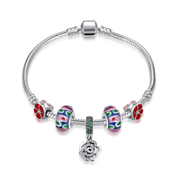 Hot sale genuine 925 sterling silver rose flower bracelet fit pandora charms necklace & bracelet European beads for personalized DIY jewelry