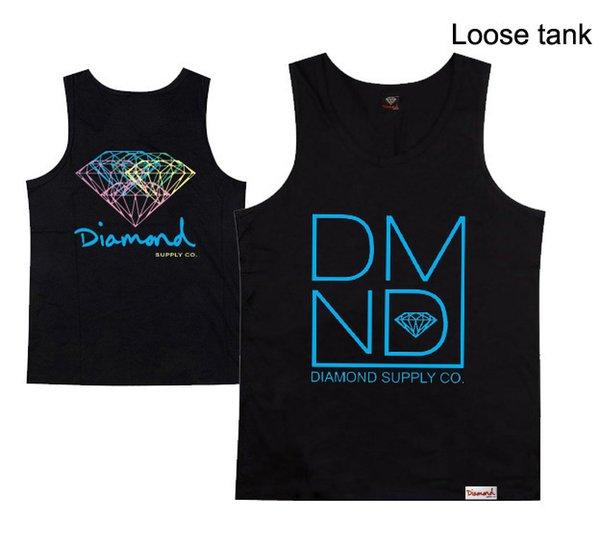 diamond loose plus size hiphop loose vest o-neck top quality streetwear dance 100% cotton tank tops summer hip hop plus size