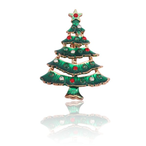 Fashion Crystal Christmas Tree Brooch Christmas Ornaments Gifts Beautiful Tree Brooches Pins Xmas Rhinestone Plant Xmas Jewelry Wholesale