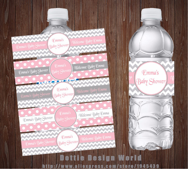 20 Unids / lote Grey Pink Chevron Princess Party Botella de Agua Etiquetas Candy Bar Wrapper Baby Shower Fiesta de Cumpleaños Decoración de Suministros