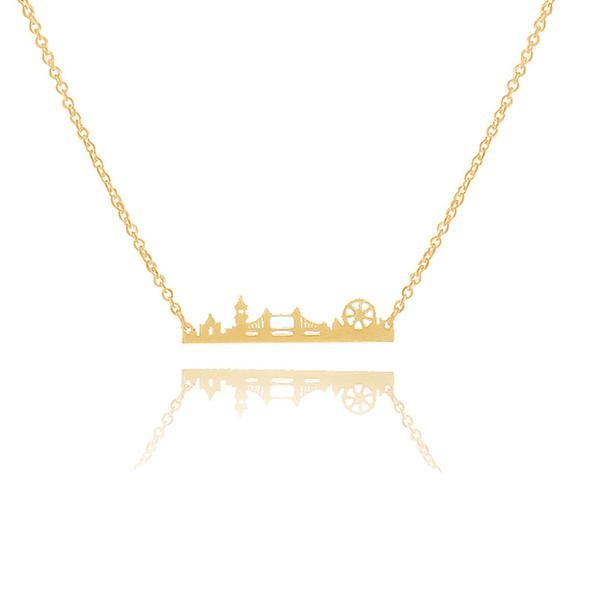 10 unids / lote encanto paisaje urbano Vintage London Skyline collar de acero inoxidable paisaje colgante joyería moderna minimalista collares