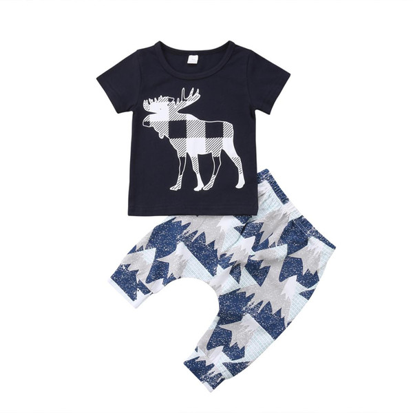 2018 New Newborn Toddler Infant Baby Boy Girl Clothes Deer T-shirt Tops+Pants Outfits Set 2pcs Set