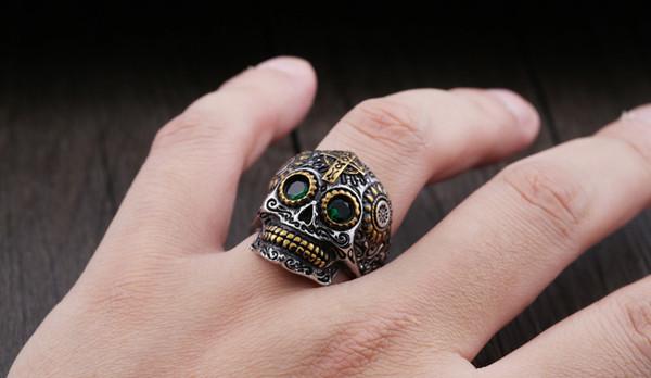 Gioielli di moda popolare Dead Cool Skull Ring in acciaio inossidabile Biker Hip Hop Style maschile Rock Skull Punk Ring