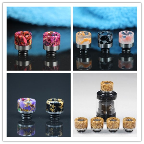 2018 Drip Tips Mouthpiece Replacement Epoxy resin night light 510 Drip tips 4 styles wide drip tips free shipping