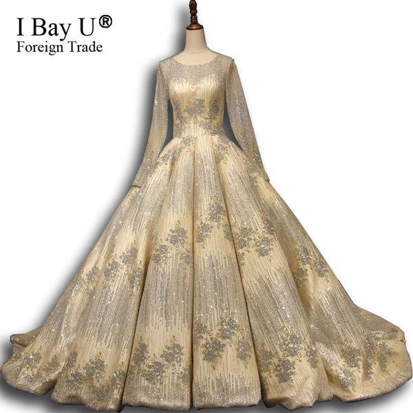 Immagini reali Custom Bling Gloden Glitter abiti da sposa musulmani Dubai 2018 Real Photo Ball Gown maniche lunghe abito da sposa Vestido De Noiva