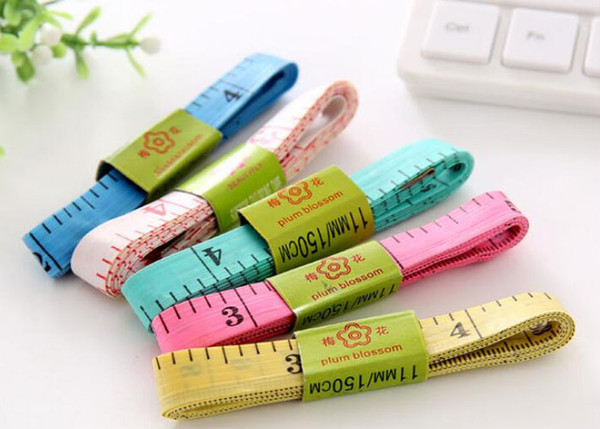 top popular Free Shipping Plastic soft ruler   measuring clothing tape   measuring tape ruler Home practical sewing ruler 1.5m with iron head 2021
