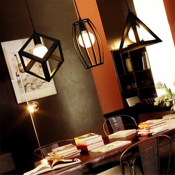 Black E27 Industrial Vintage Pendant Light Night Lamp Indoor Lighting Fixture 4 Types Kitchen Bar Cafe Restaurant Decoration