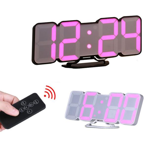 Ses Kontrolü 3D LED Dijital duvar saati Uzaktan Kumanda Elektronik Masa duvarda izle nixie mutfak saat horloge duvar ev
