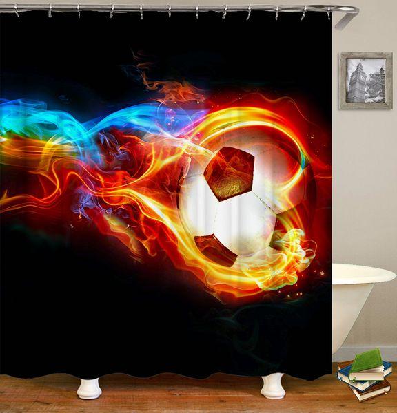 Impermeable Colorido Creativo Medallón Burnable Fútbol Planeta Diseño Impresión digital Baño Ducha Cortina de ventana con ganchos 180x180cm