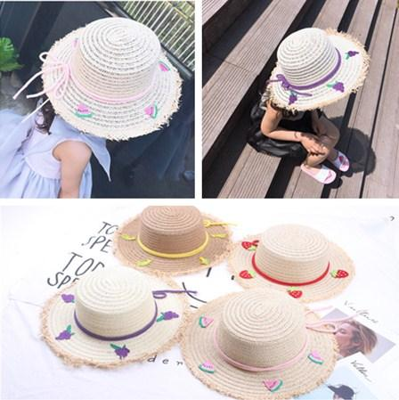 Summer Cartoon Fruit Banana Strawberry Embroidered Straw Hat for Kids Boys Girls Outdoor Travel Beach Sun Hats