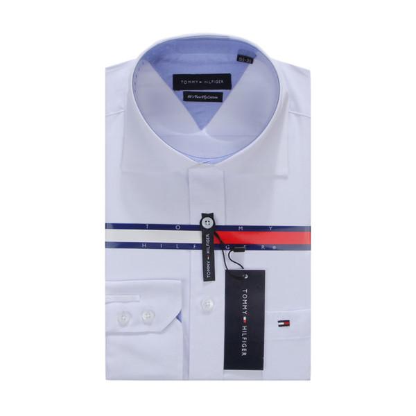 2019 новый мужской воротник рубашки платье мода с длинным рукавом премиум 100% хлопок рубашки мужской бренд рубашка