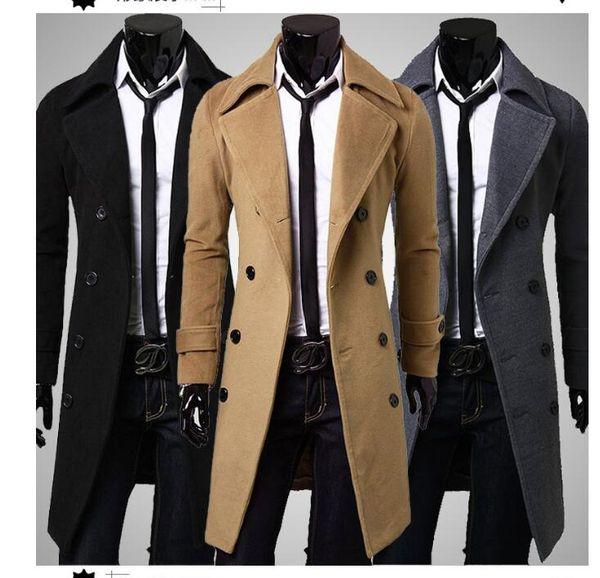 Neuester dünner Zweireiher-Trenchcoat-Normallack-Revers-Kragen-lange Hülse europäische Art 3 Farben Männer; S-Freizeit-Trenchcoats