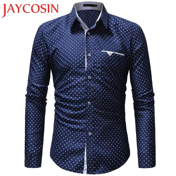JAYCOSIN 2018 Otoño Casual Casual Polka Dot Camisa de vestir de manga larga Slim Top blusa Dropshipping 4 de agosto