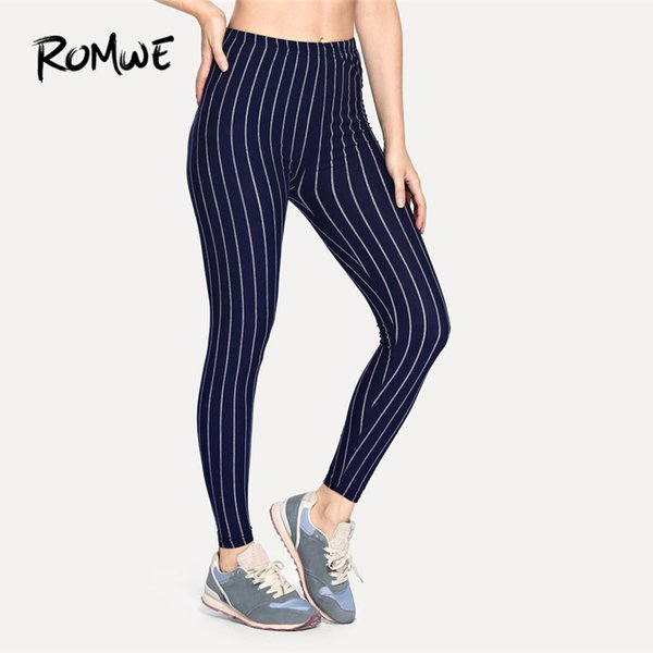 097bbc2d13c11 Romwe Sport Navy Striped Vertical Pinstriped Women Crop Running Tights 2018  Winter Fitness Compression Pants Sports